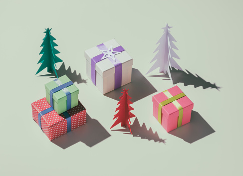 Paper Craft「Christmas presents and paper christmas trees」:スマホ壁紙(19)