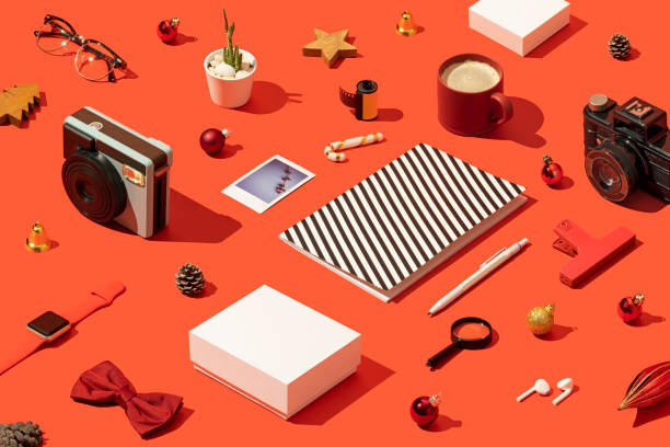 Christmas present, shopping flat lay with gift box mockup, template on red background:スマホ壁紙(壁紙.com)