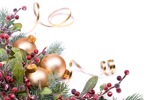 Needle - Plant Part「Christmas Pine and Berries, Gold baubles and ribbon on white.」:スマホ壁紙(16)