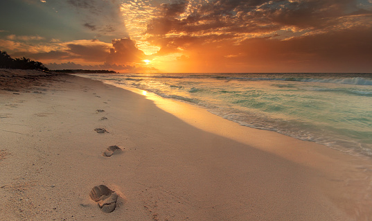 ビーチ「Mexico, Riviera Maya, Akumal beach, View along coastline with footprints in sand at sunrise」:スマホ壁紙(12)