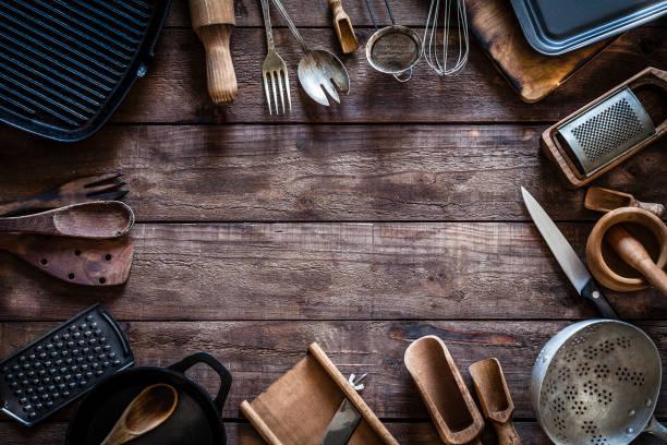 Vintage kitchen utensils frame:スマホ壁紙(壁紙.com)