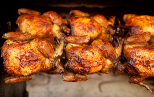 Chicken Meat「Chickens Roasting on Rotisserie, Food, Grilling, Cooking, Poultry」:スマホ壁紙(0)