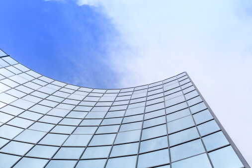 Low Angle View「Modern glass architecture」:スマホ壁紙(8)