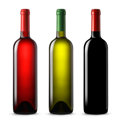 Red Wine「Three wine bottles in various colors on a white background」:スマホ壁紙(5)