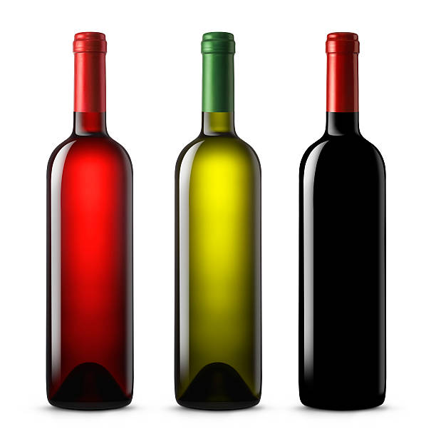 Three wine bottles in various colors on a white background:スマホ壁紙(壁紙.com)