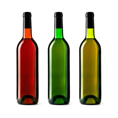 Back Lit「Three wine bottles isolated on white background, red, green, yellow」:スマホ壁紙(5)