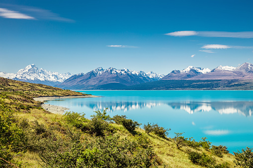 Mt Cook「Lake Pukaki Mount Cook Glacier Turquoise Lake New Zealand」:スマホ壁紙(17)