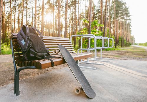 Skating「Longboard leaning on bench.」:スマホ壁紙(1)