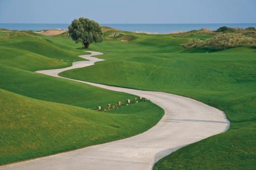 Green - Golf Course「Turkey, Antalya, View of pathway passing through grass」:スマホ壁紙(11)