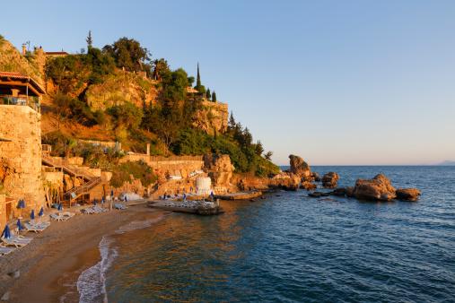 Antalya Province「Turkey, Antalya, Beach at harbor」:スマホ壁紙(12)
