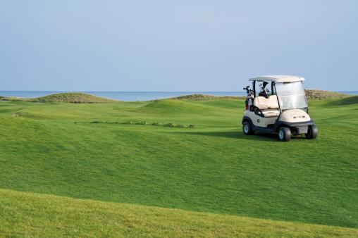 スポーツ用品「Turkey, Antalya, Golf cart on meadow at golf course」:スマホ壁紙(16)