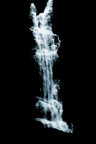 Waterfall「Cascading water on black background」:スマホ壁紙(8)