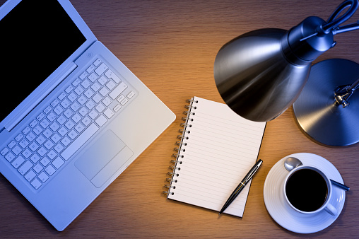Desk Lamp「Silver desk lamp laptop pen and notepad and black coffee」:スマホ壁紙(1)