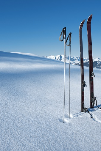 Ski Pole「Vintage Ski's and ski poles stood in fresh new snow」:スマホ壁紙(9)
