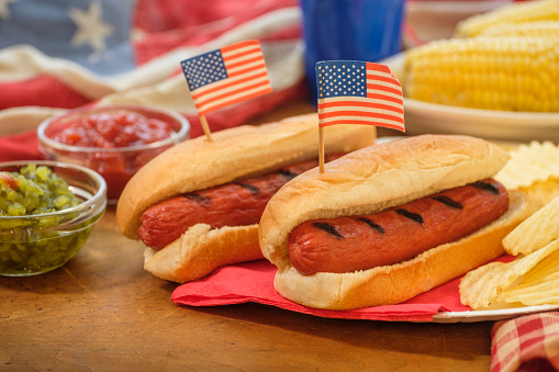 Fourth of July「Hot dogs with American flag toothpicks」:スマホ壁紙(15)