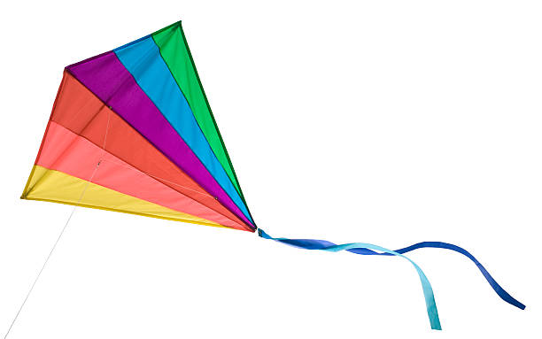 Rainbow Delta Kite Isolated on White with Clipping Path:スマホ壁紙(壁紙.com)