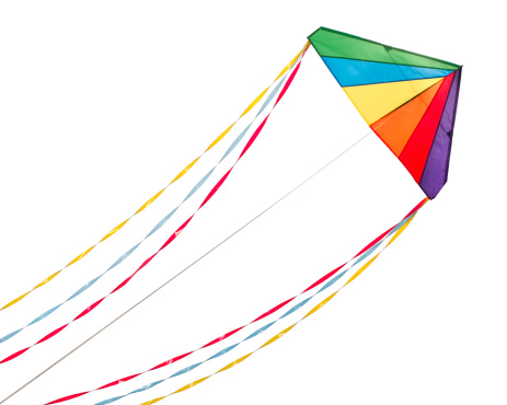 kite flying「Rainbow Delta Kite.  Isolated on White with Clipping Path」:スマホ壁紙(8)
