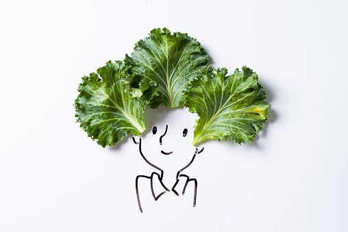 Female Likeness「Concept sketch of girl with lettuce」:スマホ壁紙(2)