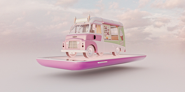 Food Truck「Miniature worlds: Pink ice cream van on smart phone」:スマホ壁紙(17)