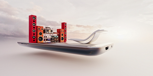 Deck Chair「Miniature world: relaxing chair in front of large music system on mobile phone」:スマホ壁紙(4)