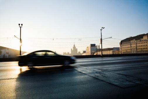 City Street「Car driving on slick street, Moscow, Russia」:スマホ壁紙(1)