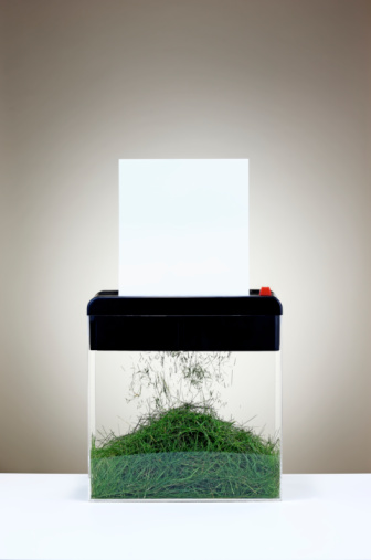 Recycling「paper going into shredder turning into grass」:スマホ壁紙(6)