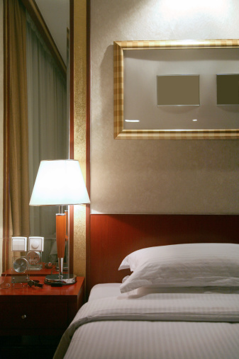 Lamp Shade「Lamp On Nightstand In Hotel Bedroom」:スマホ壁紙(1)