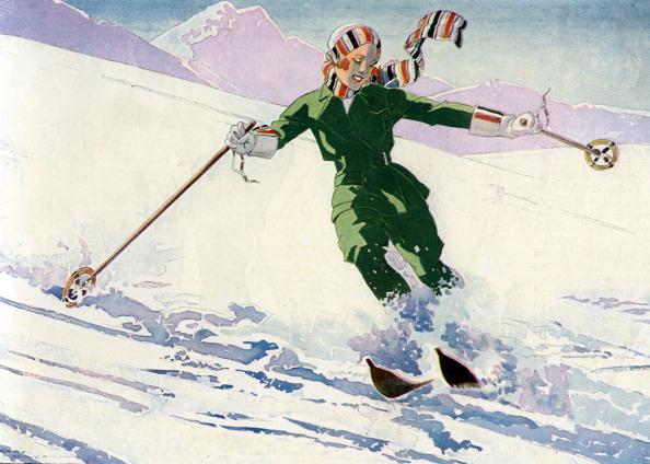 Skiing「Woman skiing, 1930s」:写真・画像(9)[壁紙.com]