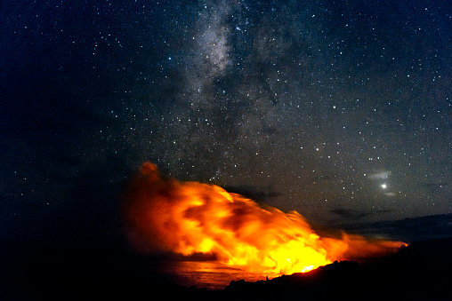 Earth Goddess「Volcanoes National Park Lava Flowing into Pacific with Milky Way」:スマホ壁紙(5)