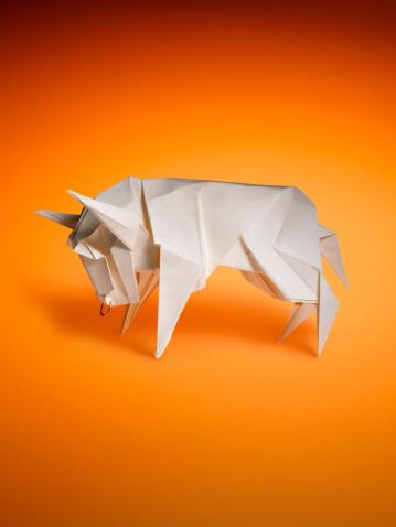 Paper Craft「Origami bull」:スマホ壁紙(8)