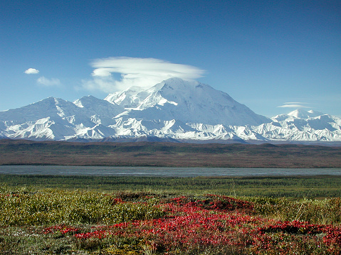 Tundra「Mount McKinley in the Fall with Clouds and Red Tundra」:スマホ壁紙(9)