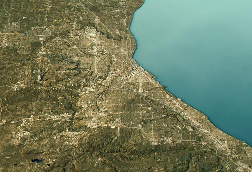 Great Lakes「Cleveland 3D Landscape View East-West Natural Color」:スマホ壁紙(10)
