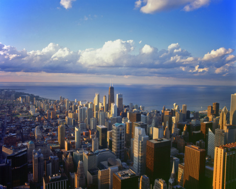 Great Lakes「USA, Illinois, Chicago, cityscape and Lake Michigan, elevated view」:スマホ壁紙(8)