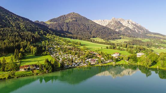 Austria「Austria, Tyrol, Kaiserwinkl, Aerial view of lake Walchsee」:スマホ壁紙(11)