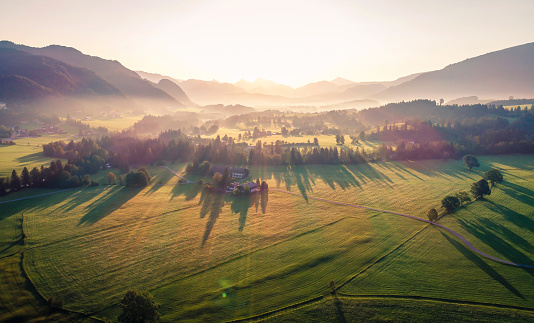 Austria「Austria, Tyrol, Kaiserwinkl, Aerial view at sunrise」:スマホ壁紙(16)
