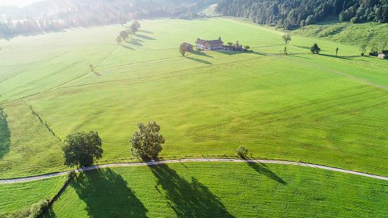 Walchsee「Austria, Tyrol, Kufsteinerland, Aerial view of fields and meadows」:スマホ壁紙(14)