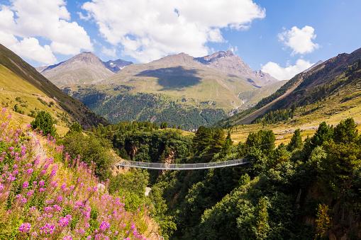 Ötztal Alps「Austria, Tyrol, Vent Valley near Vent, suspension bridge」:スマホ壁紙(12)