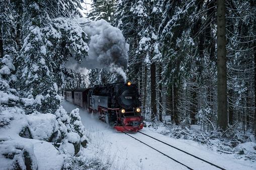 Harz National Park「Germany, Saxony-Anhalt, Harz National Park, Harz Narrow Gauge Railway in winter」:スマホ壁紙(6)