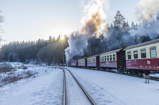 Harz National Park「Germany, Saxony-Anhalt, Harz National Park, Harz Narrow Gauge Railway in winter」:スマホ壁紙(16)