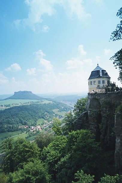 Germany, Saxony, Konigstein, Festung Konigstein Castle, view over Elbe:スマホ壁紙(壁紙.com)