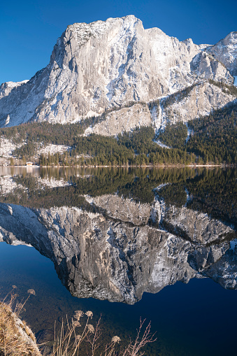 Dachstein Mountains「Perfect Winter Reflection, Lake Altaussee with Mountains Trisselwand, Totes Gebirge, Steiermark, Ausseerland, Panorama, Austria」:スマホ壁紙(9)
