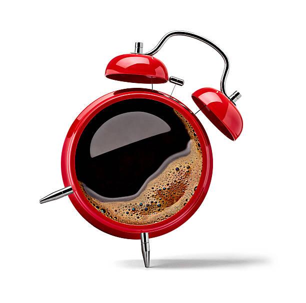 Red alarm clock with black coffee:スマホ壁紙(壁紙.com)