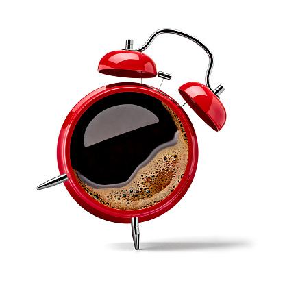Waking up「Red alarm clock with black coffee」:スマホ壁紙(9)