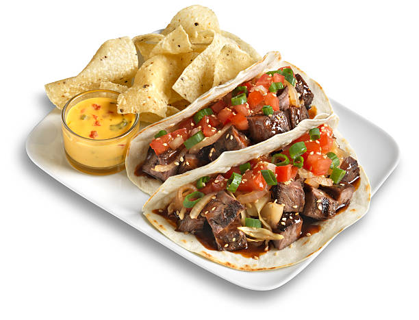 Steak Taco with chips, Isolated:スマホ壁紙(壁紙.com)