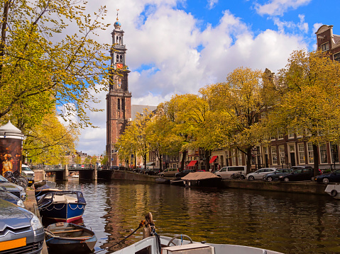 Amsterdam「Westerkerk Church and Prinsengracht Canal, Amsterdam」:スマホ壁紙(2)