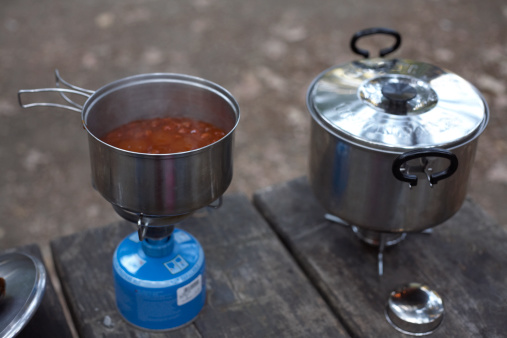 Camping Stove「camping stove with butane burner in front of tent」:スマホ壁紙(13)