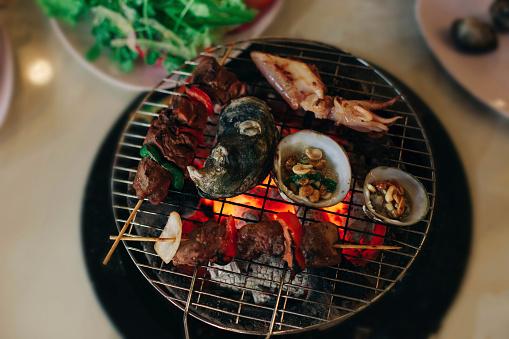 はまぐり料理「Seafood cooking on grille」:スマホ壁紙(11)