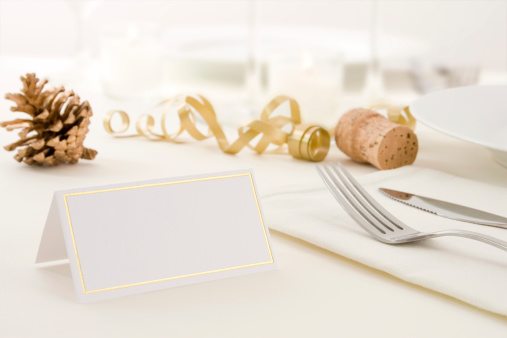 Place Setting「A set Christmas-decorated table with blank label」:スマホ壁紙(7)