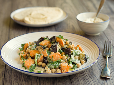 Salad「Roasted sweet potato,aubergine with chickpeas」:スマホ壁紙(4)