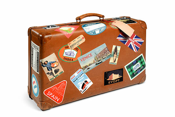 Suitcase with travel stickers:スマホ壁紙(壁紙.com)